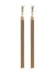 Saint Laurent Gold Ysl Tassel Drop Earrings