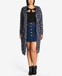 City Chic Trendy Plus Size Hooded Duster Cardigan Ink