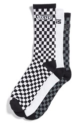 Vans Men's Crew Socks Black White Checkerboard