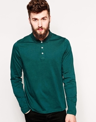 Asos Long Sleeve Polo Shirt In Jersey Ponderosapinegreen
