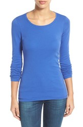 Women's Caslon Long Sleeve Scoop Neck Cotton Tee Blue Marine