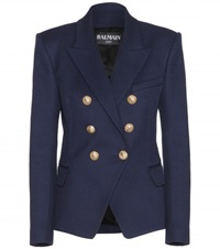 Balmain Double Breasted Cotton Blazer Blue