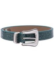 B Low The Belt Crocodile Embossed Buckle Green