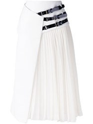 Lanvin Belted Wrap Skirt Women Calf Leather Patent Leather Polyester Zamak 38 White
