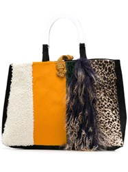 Liska Goat Fur And Lamb Fur Tote Orange
