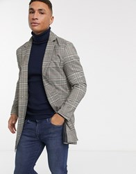 Brave Soul Roberts Overcoat In Heritage Check Brown