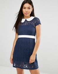 Club L Peter Pan Collar Detail Lace Detail Dress Navy