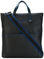 Furla Contrast Detail Shopping Bag Men Leather One Size Black