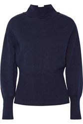 Jacquemus Tie Back Wool Turtleneck Sweater Midnight Blue