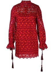 Sacai Collared Floral Lace Shirt Dress