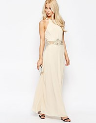 Jarlo Halterneck Maxi Dress With Crochet Detail Cream