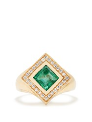 Jade Jagger Diamond Emerald And Yellow Gold Kite Ring Green