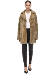 Drome Reversible Shearling Coat Brown