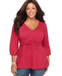 Ny Collection Plus Size Three Quarter Sleeve Ruched Empire Waist Top Azalea