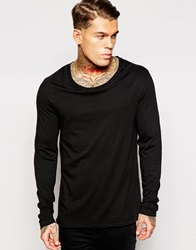 Asos Longline Long Sleeve T Shirt With Stretch Neck Black