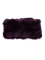 Surell Rabbit Fur Headband Collar Purple