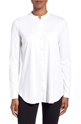 Petite Women's Eileen Fisher Mandarin Collar Organic Cotton Shirt White