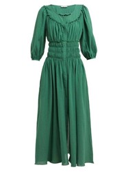 Three Graces London Arabella Shirred Cotton Voile Midi Dress Green