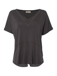 Label Lab Chiffon Mix Split Back Tee Charcoal