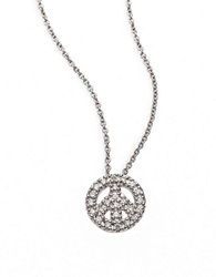 Roberto Coin Tiny Treasures Diamond And 18K White Gold Mini Peace Sign Pendant Necklace