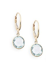 Saks Fifth Avenue Round Blue Topaz And 14K Yellow Gold Drop Earrings