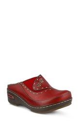 L Artiste Women's L'artiste Chino Clog Red Leather