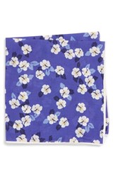 Southern Tide Hanatei Hibiscus Cotton And Silk Pocket Square Blue