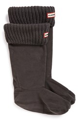 Hunter Women's Tall Cardigan Knit Cuff Welly Boot Socks Dark Slate