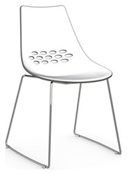 Calligaris Jam Chair Skid Base P77 Chromed Metal P799 P837 White And Glossy Taupe Plastic Transparent