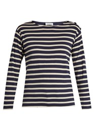 Saint Laurent Striped Cotton Top Navy Stripe