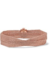 Carolina Bucci Melange Woven 18 Karat Rose Gold And Silk Wrap Bracelet One Size