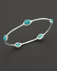 Ippolita Sterling Silver Rock Candy 5 Stone Oval Bangle In Turquoise No Color