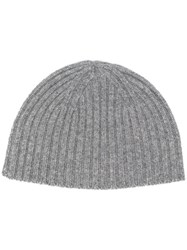Pringle Of Scotland Knitted Beanie Hat Grey