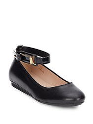 Tod's Leather Ankle Strap Flats Black