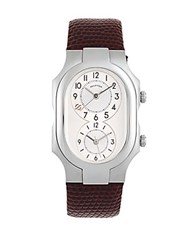 Philip Stein Teslar Stainless Steel And Leather Strap Watch Wine