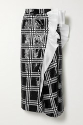 Rodarte Silk Organza Trimmed Checked Sequined Stretch Knit Maxi Skirt Black