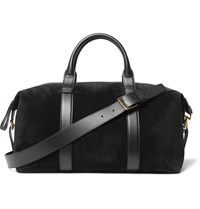 Tom Ford Leather Trimmed Suede Holdall Black