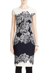 St. John Women's Collection 'Nadia' Floral Knit Sheath Dress