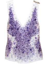 Amen Sheer Sequin Embellished Top Pink And Purple