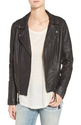 Treasure And Bond Women's Quilted Leather Moto Jacket