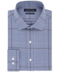Tommy Hilfiger Men's Fitted Th Flex Non Iron Performance Check Dress Shirt Nutmeg