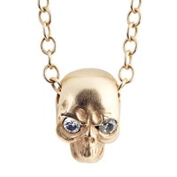 Social Anarchy Skull Pendant Yellow Gold W White Diamond
