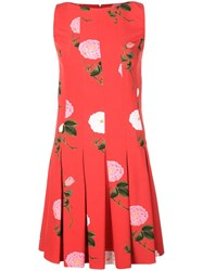 Oscar De La Renta Floral Print Dress Red