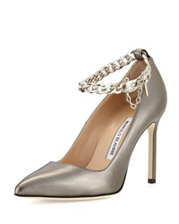 Manolo Blahnik Bb Leather Pump With Chain Strap Anthracite