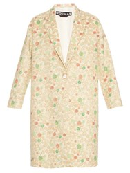 Rochas Notch Lapel Single Breasted Brocade Coat Gold Multi
