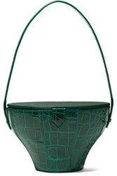 Staud Alice Croc Effect Leather Tote Dark Green