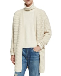 Vince Honeycomb Knit Long Cardigan Winter White