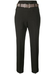 Peserico Belted Cropped Trousers Brown