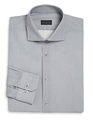 Pal Zileri Regular Fit Textured Dress Shirt Blue