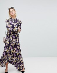 Warehouse Floral Print Frill Edge Maxi Dress Purple